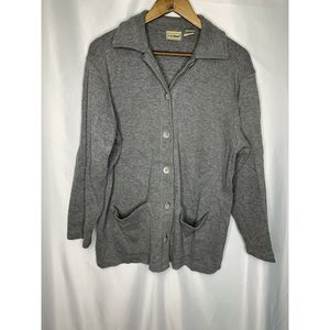 LL Bean Button Down Front Pockets Cardigan Size M